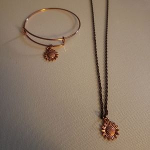 Copper color sunflower necklace and bangle
